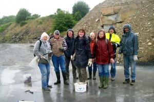 Fossiliensuche im Sandsteinwerk Rinsche bei Soest / ein bischen Regen kann uns nichts anhaben!
